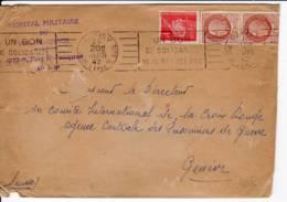 PARIS V R De L'epee De Bois, Krag Bon De Solidarité (A05112) 1942 1f Petain N° 514et 2x21f50 Pétain Brun Lettre Suis - Marcofilia (sobres)