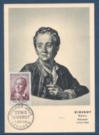 France - Carte Maximum - Denis Diderot - Langres - 1958 - Cartoline Maximum