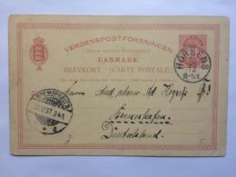 DENMARK 1897 Stationary Card Brevkort Horsens To Bremerhaven Germany - 1864-04 (Christian IX)
