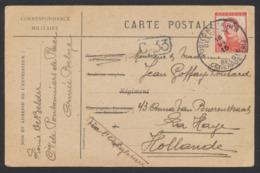 """Pellens - 10ctm Sur Correspondance Militaire Obl """"P.M.B."""" (1915) Vers La Haye Via L'angleterre / Texte Au Verso. - 1912 Pellens"""