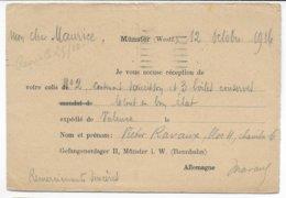 1916 - PRISONNIERS De GUERRE FRANCAIS En ALLEMAGNE - CP ACCUSE De RECEPTION De COLIS (SAUCISSONS ETC...) CAMP De MÜNSTER - Guerra De 1914-18