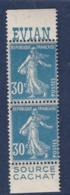 PUBLICITE SEMEUSE 30C BLEU EVIAN/CACHAT  BANDE VERTICALE ACCP 115/118** - Publicités