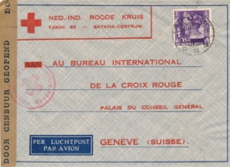 Nederlands Indië - 1940 - 35 Cent Kreisler Op Censored Red Cross Cover Van LB Medan Naar Geneve / Schweiz - Nederlands-Indië