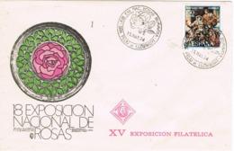 34136. Carta SAN FELIU De LLOBREGAT (Barcelona) 1974. Exposicion Rosas - 1931-Hoy: 2ª República - ... Juan Carlos I