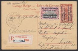 """Est Africain Allemand - EP Au Type 10ctm Rouge """"Palmier"""" + 40ctm En Recommandé De Kigoma (1918) Vers Preston Paignton - Ganzsachen"""