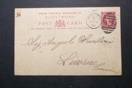 Malta: 1889 Postal Card To Livorno (#WT9) - Malta (...-1964)