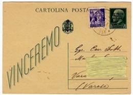 CARTOLINA POSTALE - VINCEREMO - REPUBBLICA SOCIALE ITALIANA - 28/03/1945 - Guerra 1939-45