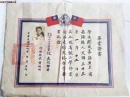 CHINA TAÏWAN GRAND DIPLOME TCHANG KAÏ-CHEK CHINE 38 X 30 Cm Degree Graduate Asie - Taiwan