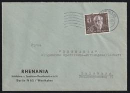 Einzelfrankatur MiNr. 115 Gestempelt, Von (1) BERLIN N 65 11.3.54 -20 Nach DUISBURG - Briefe U. Dokumente