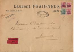 Guerre 14-18 - OC N°2 Et 3x3 Sur Grande Env. En Expres De Liège + Censure Militaire Vers Courcelles / Papiers D'affaires - WW I