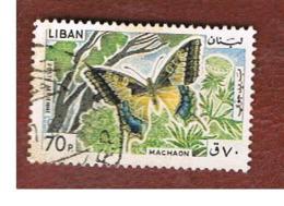 LIBANO (LEBANON) -  SG 877  - 1965 BUTTERFLIES: PAPILIO MACHAON   - USED ° - Libano