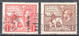 """Great Britain 1925 - British Empire Exhibition. Dated """"1925': - Mi.168-69- Used - Gebraucht"""