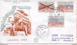 "Maroc;FDC 1er Jour  ;1963;TP N° 464 à 466 "" Reconstruction D'Agadir "" Morocco,Marruecos - Maroc (1956-...)"