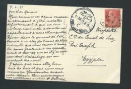 Yvert N° 243 Au Dos D'1 Cpa Pour L'egypte En 1931  -  Vab49 - Storia Postale
