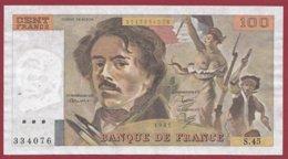 """100 Francs """"Delacroix"""" 1981 --VF/SUP--Série -S.45 - 1962-1997 ''Francs''"""