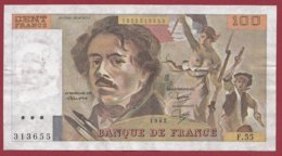 """100 Francs """"Delacroix"""" 1982 --F/TTB+--Série -F.55 - 1962-1997 ''Francs''"""
