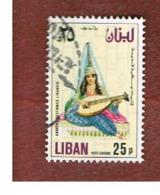 LIBANO (LEBANON) -  SG 1250 - 1978 ANCIENT COSTUMES: GIRL WITH LUTE  (OVERPRINTED)  - USED ° - Libano