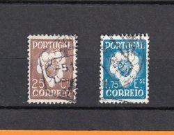 PORTUGAL  1937  Lot De 2 Timbres Oblitérés  Y.et T.  25c Brun Num 589   Et  1c75 Bleu  Num 591  Sans Charniere Au Verso - 1910-... République