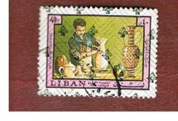 LIBANO (LEBANON) -  SG 1253 - 1978 HANDICRAFTS: POTTERY  (OVERPRINTED)  - USED ° - Libano