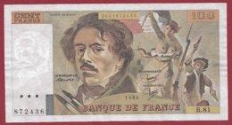 """100 Francs """"Delacroix"""" 1984 --VF/SUP--Série -B.81 - 1962-1997 ''Francs''"""
