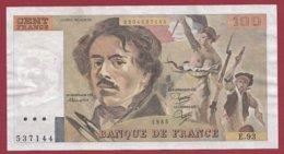 """100 Francs """"Delacroix"""" 1985 --F/TTB+--Série -E.93 - 100 F 1978-1995 ''Delacroix''"""