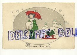Bonne Année.  Petite Fille Dans La Neige, Manchon, Parapluie, Luge. 1925 - Anno Nuovo