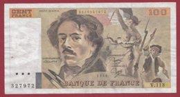 """100 Francs """"Delacroix"""" 1986 --F/TTB+--Série -V.113---2 TROU D EPINGLE - 100 F 1978-1995 ''Delacroix''"""
