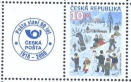 CZ 2008-582 GREATING STAMPS, CZECH REPUBLIK, 1 X 1v + Label, MNH - Nuevos