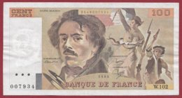 """100 Francs """"Delacroix"""" 1986 --F/TTB+--Série -W.102 - 1962-1997 ''Francs''"""