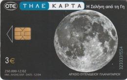 TARJETA TELEFONICA DE GRECIA. Planetarium And Space. Earth From The Moon, Planetarium 6, X1565a (030) - Spazio