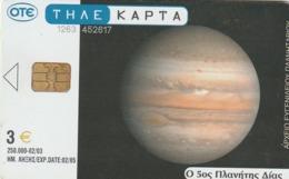 TARJETA TELEFONICA DE GRECIA. Planetarium And Space. Planetarium 4, The Red Big Blot Of Jupiter X1596a (035) - Espacio