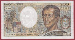 """200 Francs """"Montesquieu"""" 1985 --VF/SUP--Série -D.036 - 1962-1997 ''Francs''"""