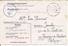Kriegsgefangenenpost Prisonnier Guerre 1943 Franchise Stalag XX B MARIENBURG ('Dantzig) + Censure Vers Jauche Brabant - WW II