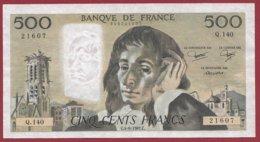 """500 Francs """"Pascal"""" Du 04/06/1981.C --VF/SUP--Série -Q.140 - 500 F 1968-1993 ''Pascal''"""