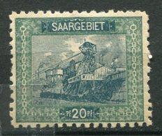 14970 SARRE N° 55a* 20p. Vert Et Vert-bleu : Dentelé 10 1/2    1921    B/TB - Ungebraucht