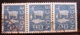 3 Timbres Se Tenant - Oblitérés. Norvège - Renne, Poisson Et Piège. 1962 - Y.T. N° 449. - Oblitérés