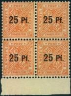 """1917, Dienstmarke Ziffer In Schilernd """"25 Pf"""" Auf """"25"""" Postfrischer Viererblock - Mi 240 Y - 320,- + - Wurttemberg"""