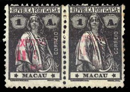 MACAU. 1926. Macau Exhibition. Red OVERPRINT. 1A Black, Horizontal Pair In Mint Condition. Extremely Rare Multiple. - Macau