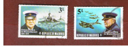 MALDIVE   - SG 537.539 -   1974 SIR W. CHURCHILL : SHIPS, AIRPLANES         -  USED ° - Maldive (1965-...)