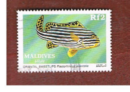 MALDIVE   - SG 1330 -   1989  TROPICAL FISHES: ORIENTAL SWEELIPS      -  USED ° - Maldive (1965-...)