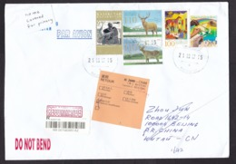 Kazakhstan: Registered Cover To China, 2017, 5 Stamps, Europa, Map, Deer, Returned, Retour Label, Rare (minor Damage) - Kasachstan