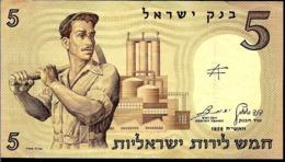 ISRAEL 5 LIROT ESCRTO AÑO 1958 CON DOBLEZ - Israel