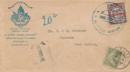 Colombia / Curacao - 1925 - 20 Cent Port P26 Enkelfrankering Op Taxed Businesscover Van Colombia Naar Curacao - Curaçao, Antilles Neérlandaises, Aruba