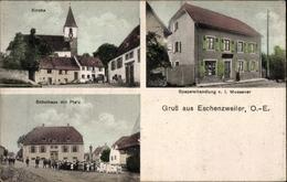 Cp Eschentzwiller Eschenzweiler Elsass Haut Rhin, Kirche, Schulhaus, Spezereihandlung V. I. Moessner - Other Municipalities