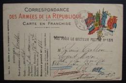 """Carte Pour Le Secteur Postal 131 Redirigée Vers Le S.P 56 Avec Cachet """"PAS POUR LE SECTEUR POSTAL N° 131"""" (1915) - Poststempel (Briefe)"""