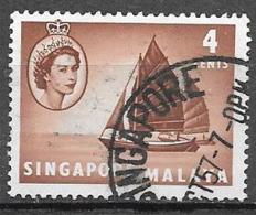 1955 Queen Elizabeth 4 Cents, Twa-kow Lighter, Used - Singapur (...-1959)