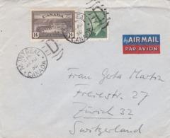 BUSTA VIAGGIATA  BY AIR MAIL - CANADA - MONTREAL   - VIAGGIATA PER ZURIGO ( SVIZZERA) - 1937-1952 Regno Di George VI