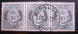 3 Timbres Se Tenant -Oblitérés. Norvège - Série Courante, Cor Postal. 1962 - Y.T. N° 436. - Oblitérés