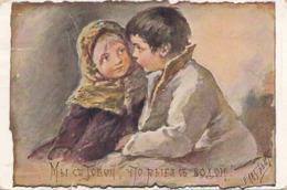 RUSSISCHE KÜNSTLERKARTE, Mädchen Und Bub, Gebrauchsspuren, Abgelöste Marke - Künstlerkarten