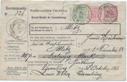 Mandat D'Encaissement / Lettre De Recouvrement Avec Affranchissement Suppl. De Luxembourg Ville 31-10-1883 Pour Metz - Luxembourg
